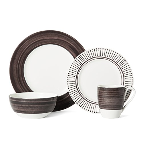 Setting Place Porcelain - Mikasa Cadence Walnut 4 Piece Place Setting, Brown