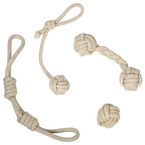 Franklin Pet Supply Natural Non-Toxic Rope Dog Toys - Hemp - Play Fetch - Tug of War - Dog Teething - Puppy Chew - 4 Pack