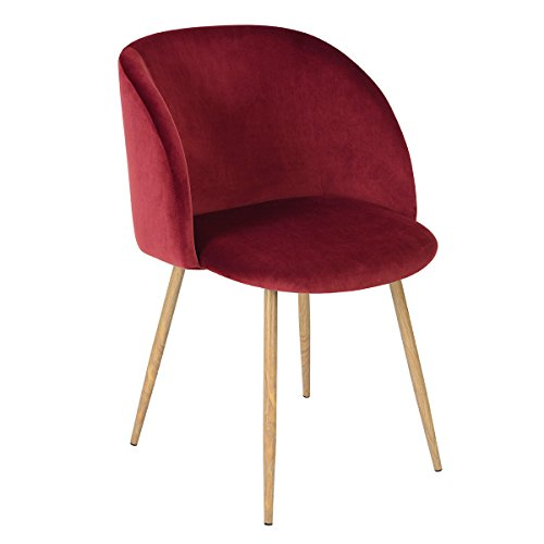 Mid-Century Velvet Accent Living Room Chair,Upholstered Arm Chair Club Chair with Solid Steel Leg Living Room Bed Room Dining Room Furniture,Wine Red