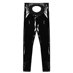 - 41TpxmcU2UL - Agoky Men's Lingerie Wet Look Patent PVC Leather Open Bulge Pouch CrothlessTight Pants Leggings Trousers