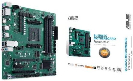 ASUS PRO B550M-C/CSM (AMD B550) (Ryzen AM4) micro ATX business motherboard Dual M.2, PCIe 4.0, 1 Gb Ethernet, dual DP/HDMI, SATA 6 Gbps, USB 3.2…