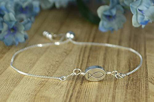 - Christian Fish/Jesus Pewter Bead Adjustable Sterling Silver Interchangeable Charm/Link Bolo Bracelet- Charm, Bracelet Chain, or Both