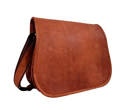 Adwaita Handmade 14 inch Top Grain Leather Full Flap Women's Leather Purse Satchel Handbag Tote ()