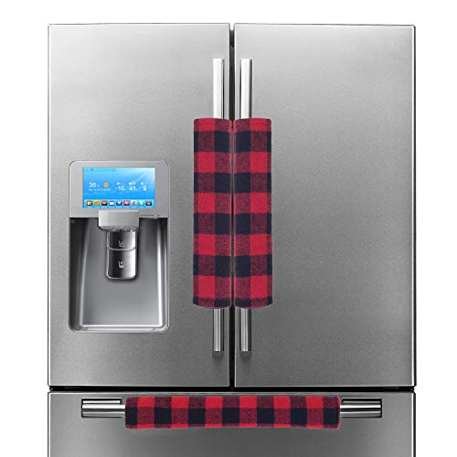 Price comparison product image EDLDECCO Handicraft Plaid Refrigerator Door Handle Covers Red and Black Buffalo Check Fridge Oven Dishwasher Handle Protectoer