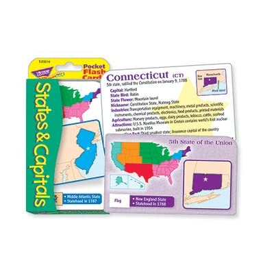 POCKET FLASH CARDS 56-PK STATES AND: Toys & Games