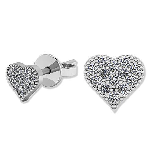 .925 Sterling Silver & Pavé-Set Cubic Zirconia Petite Stud Earrings - Love ()