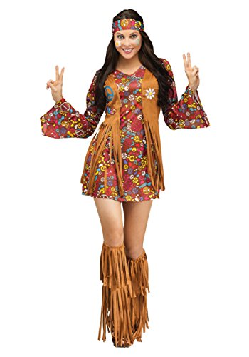 Fun World Costumes Women's Peace Love Hippie Adult Costume, Brown, Medium/Large ()