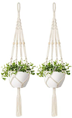 Mkono 2 Pcs Macrame Plant Hangers Indoor Outdoor Hanging Planter Basket Cotton Rope with Beads 4 Legs 41 Inch