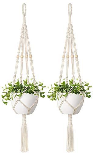Mkono 2 Pcs Macrame Plant Hangers Indoor Outdoor Hanging Planter Basket Cotton Rope with Beads 4 Legs 41 Inch (Indoor Plants Hanging Artificial)
