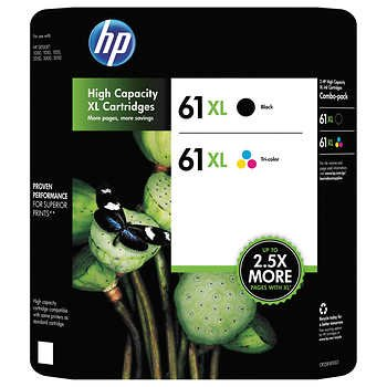 Genuine HP 61XL Black and Color Inkjet Cartridges in Retail Combo Pack ()
