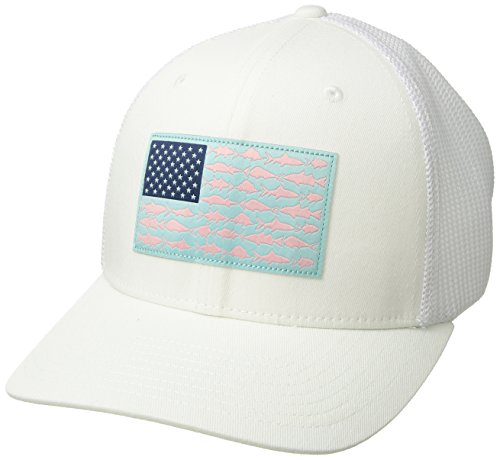 Columbia Pfg Mesh Ball Cap  White Key West Fish Flag  Large X Large