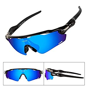 BATFOX Baseball Sunglasses Glasses for Men Youth Teens Women Boys with Interchangeable Lenses Silicone Leg tr90 Unbreakable Frame for Running Cycling Baseball Golf Fishing Driving(Black Blue)