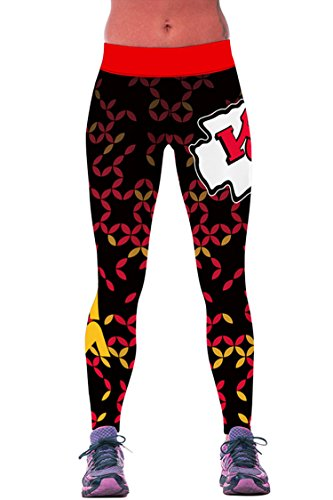 COCOLEGGINGS Ladys Digital Print Basketball Leggings Full Ankle Length Red Free Size