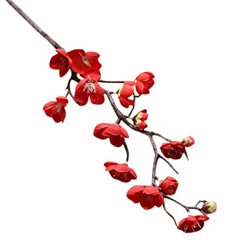 Artificial Fake Silk Flowers, Cywulin Vintage Handmade Cherry Plum Blossom Flowers Natural Looking Branch Bouquet for Home Office Wedding Party Festival Decoration 1 Piece (Red) -