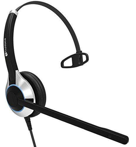 TruVoice HD-500 Deluxe Single Ear Noise Canceling Office / Call Center Headset With U10P Bottom Cable works with Mitel, Nortel, Avaya Digital, Polycom VVX, Shoretel, Aastra + Many More