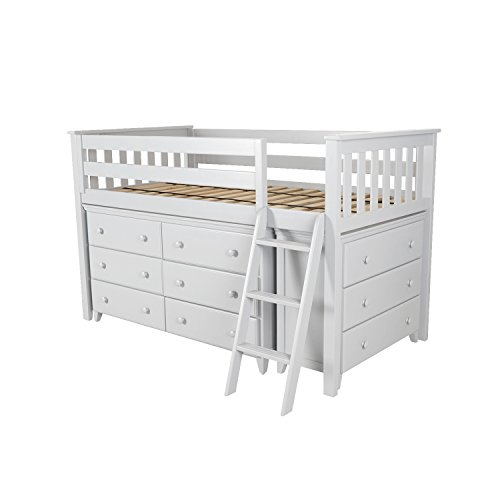 Max & Lily Solid Wood Twin-Size Storage Loft Bed with Two Dressers, White