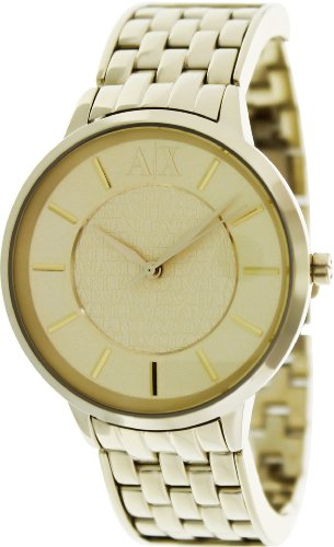 Armani Exchange Olvia Rose Dial Gold Ion-plated Ladies Watch
