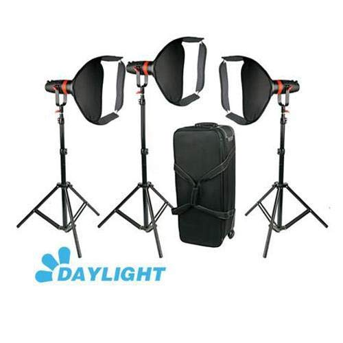 CAME-TV Boltzen Q-Series 55W High Output Fresnel Focusable Daylight LED 3-Light Kit with Softboxes, Stands and Wheeled Case