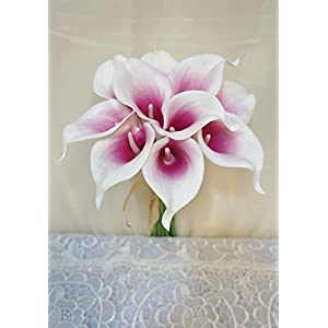 "Sweet Home Deco Latex Real Touch 15"" Artificial Calla Lily 10 Stems Flower Bouquet for Home/Wedding 2"