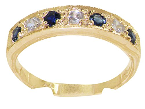 LetsBuyGold Solid 10k .417 Yellow Gold Natural Diamond and Sapphire Womens Band Ring (0.16 cttw, H-I Color, I2-I3 -