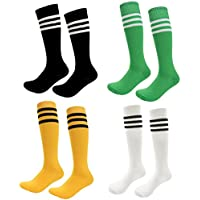 Kids Soccer Socks 4 Pack Boys Girls Cotton Team Socks...