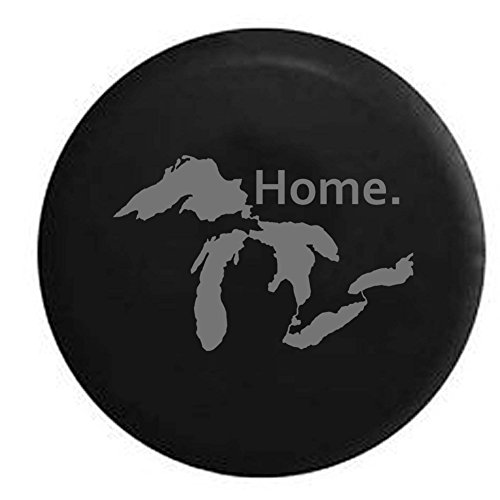 Pike Stealth - State of Michigan Great Lakes Detroit Home Edition Trailer RV Spare Tire Cover OEM Vinyl Black 27.5 in by Pike Outdoors