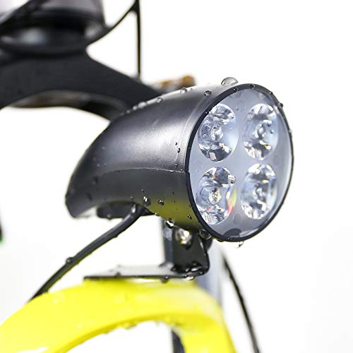 Junstar Bicycle LED Light 48V Bike Horn Waterproof Flashlight with Horn for Electric Bike 4W Headlight Front Light for Electric Bicycle (4 Bulbs)