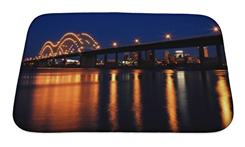 Micro Engineering Bridge (Gear New Bath Rug Mat No Slip Skid Microfiber Soft Plush Absorbent Memory Foam, Memphis Bridge Over Mississippi River, 24x17)