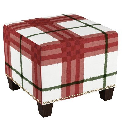 Square Nail Button Ottoman Brush Plaid Holiday - Skyline Furniture Brush Plaid Holiday