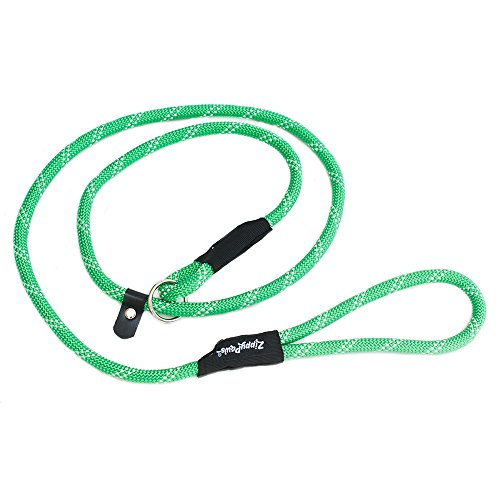 Green Slip Lead - ZippyPaws Climbers Mountain Climbing Rope Leash - Slip Lead 6-Feet (Green, Slip Lead 6-Feet (1/2