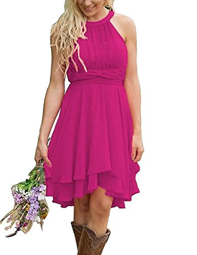Short High Bridesmaid Halter Wedding Fuchsia Chiffon Dresses Low Gowns Honor Cdress of Maid XpFfW