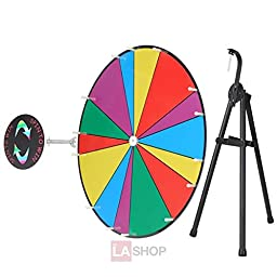 24 Inches Round Spinning Tabletop Board Rainbow Multi Colors Dry Erase Prize Wheel w/ Tripod Pen Eraser 14 Unequal Slots for Desk Fun Spin Game Carnival Trade Show