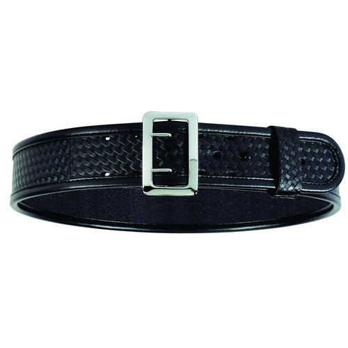 Sam Browne Belt Chrome Buckle (Bianchi 7960 PLN Black Sam Browne Belt with Chrome Buckle (Size 42))