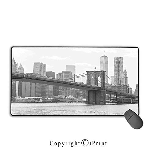 Stitched Edge Mouse pad,Landscape,Photo of Brooklyn Bridge Over East River and Tall Buildings Skylines at The Back,Grey White,Ideal for Desk Cover, Computer Keyboard, PC and Laptop,15.8