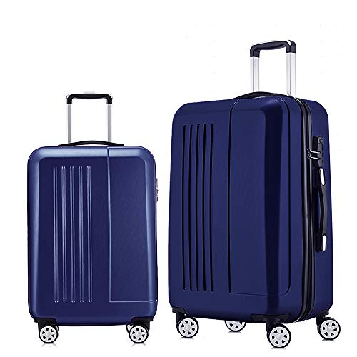 Roller Luggage Set - Luggage 2 Piece set Expandable Spinner Hardshell 20inch & 24inch, Navy Blue
