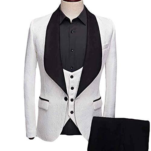 YFFUSHI Men's 3 Piece Suit Slim Fit Jacquard Tuxedo One Button Shawl Collar Jacket Vest & Trousers White