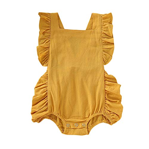 OPAWO Newborn Baby Girl Ruffled Solid Color Sleeveless Backless Romper Infant One-Piece Sunsuit Summer Jumpsuit 0-24M (Yellow, 6-12 Months)