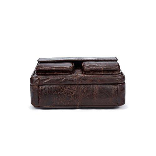 Hombres de cuero de gran capacidad para hombres bolso de hombro oblicuo paquete de estilo retro Brown