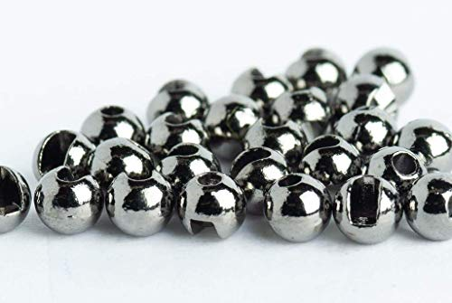 """Blue Wing Olive Slotted Tungsten Beads for Fly Tying- 100 Pack (Black Nickel, 2.0 mm (5/64""""))"""