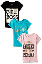 The Children\'s Place Little Girls\' Graphic Tees (Pack of 3), Girl Boss Multi, S (5/6)
