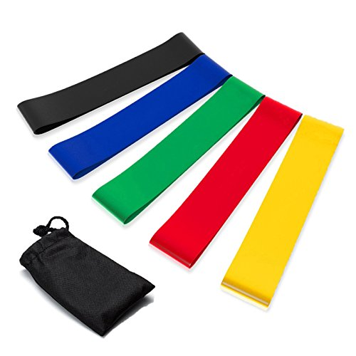 Resistance Bands Set of 5 Exercise Loops 9 inch Workout Bands for Home Fitness Yoga Physical Therapy with Carry Bag 10-50lbs by CherAmi