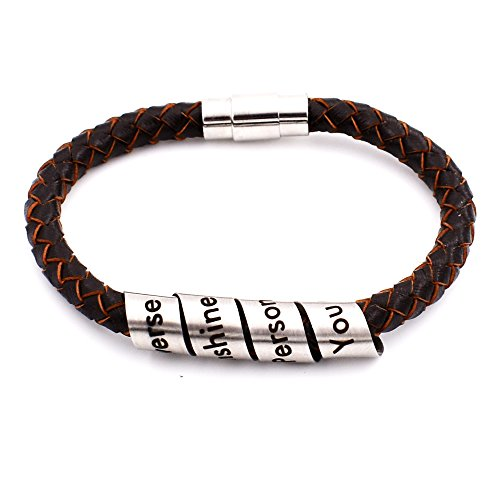 N.egret Hidden Messages Leather Wristbands Fashion Jewelry with Couple Novelty Gifts Women Men Love