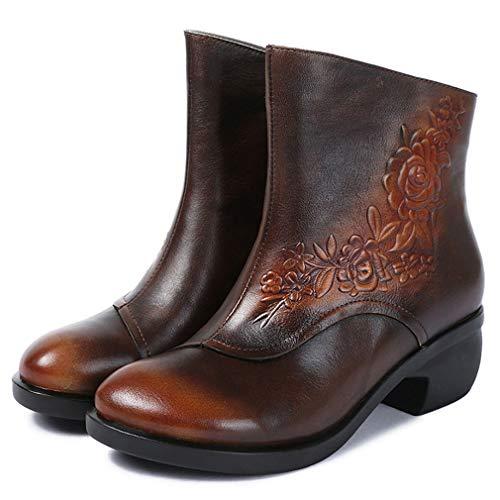 Para Redonda Invierno Damas Con Y Un Tobillo De Cuero Botas Casuales Yan Otoño Cremallera Zapatos Tacones Dama Punta Partes Noche 6w0Rtc
