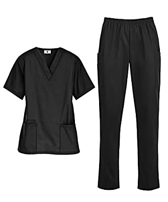 Women's Medical Uniform Scrub Set - Includes V-Neck Top and Elastic Pant (XS-3X, 14 Colors)
