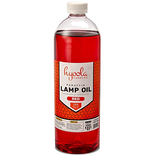 Liquid Paraffin Lamp Oil - Red Smokeless, Odorless, Ultra Clean Burning Fuel for Indoor and Outdoor Use - Highest Purity Available - 32oz - by Hyoola Candles by Hyoola Candles