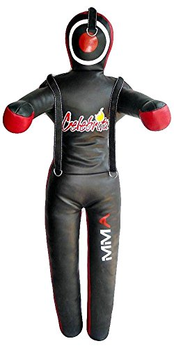 Celebrita Italy MMA Judo Grappling Dummy w open hands and 3 straps on head and shoulder MMA351 Leather - Black 70