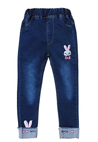 Big Girls Kids Distressed Jean Rabbit Embroidered Design Teens Denim Pants Blue 120