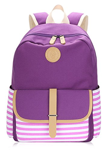 Veenajo Casual Lightweight Canvas School Backpack Laptop Bag Shoulder Daypack Handbag Purple