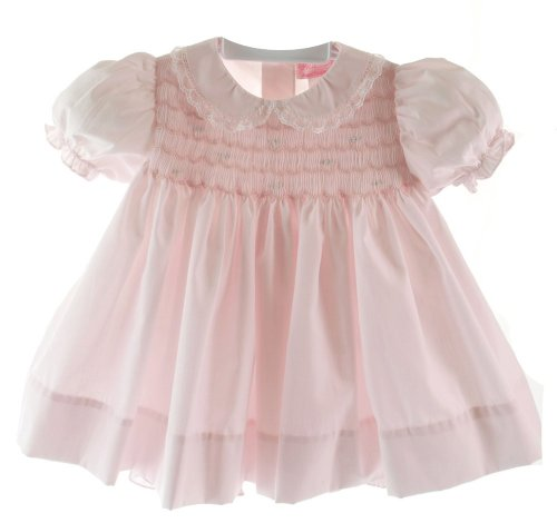 Petit Ami Infant Baby Girls Pink Smocked Dress Bonnet Bloomer Set (Smocked Bloomer Set)