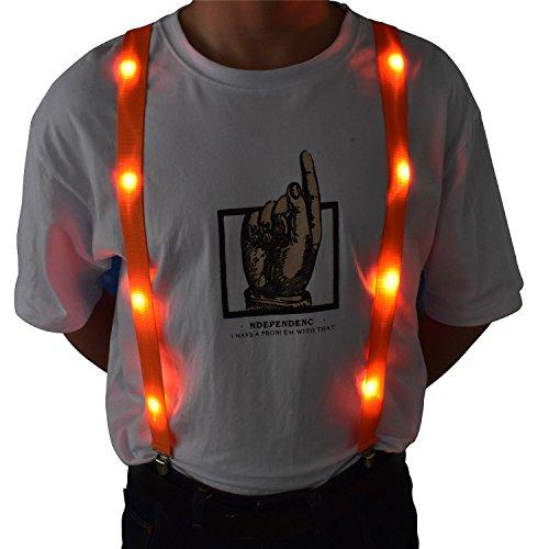 LED Glow Light Up Suspenders Trouser Braces Y Shape Suspenders (Orange) + -
